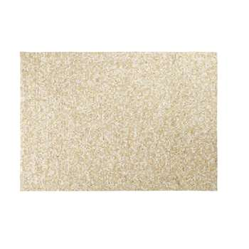 MOSAIQUE Ecru Cowhide Rug with Gold Graphic Print (H160 x W230 x D2cm)