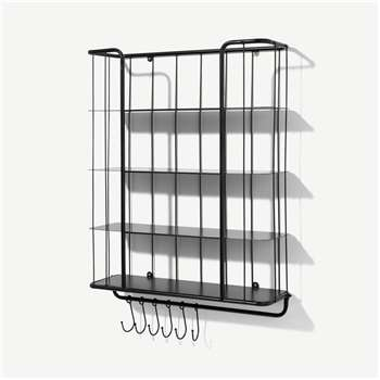 Moss 4-Tier Wall-Mounted Storage Shelf, Extra Large, Black (H80 x W61 x D19cm)