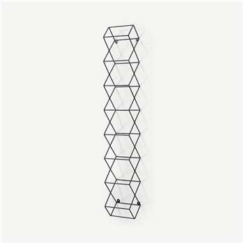 Moss 8-Bottle Wall-Mounted Wine Rack, Black (H109 x W16 x D14cm)