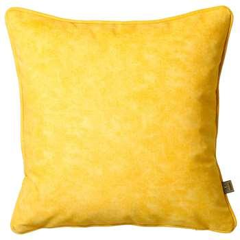 Mottled velvet cushion yellow (58 x 58cm)