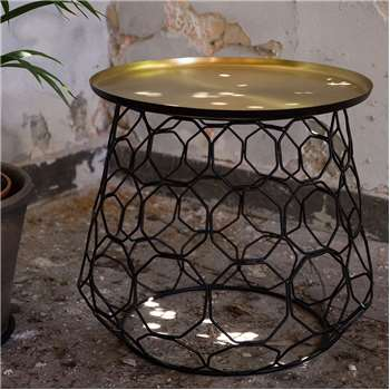 Moulin Brass Plated Side Table with Iron Frame (53 x 50cm)
