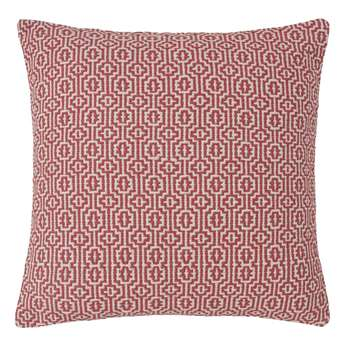 MOUNA Red and White Patterned Cotton Cushion (50 x 50cm)