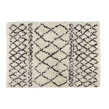 Mounia Ecru /cotton And Wool Berber Rug In Black (200 x 140cm)