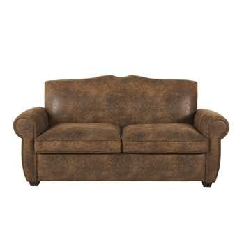 Moustache - Brown 2-Seater Faux Suede Sofa Bed (H86 x W175 x D84cm)