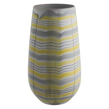 Mowat Grey and yellow patterned vase