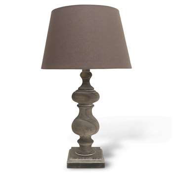 Mowbray Washed Grey Lamp with Light Grey Shade (57 x 34cm)