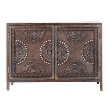 MOZAMBIQUE - Mango wood carved sideboard in brown (H80 x W115 x D40cm)