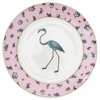 Mrs Moore's Vintage Store - Alice Flamingo Chintz Pink Plate with Gold Trim (Diameter 21cm)