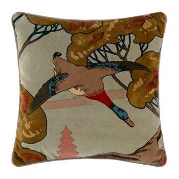 Mulberry Home - Velvet Flying Ducks Cushion (H45 x W45cm)