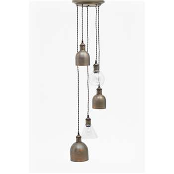 Multi Finish Cluster Pendant Light - Dark Brass (H100 x W26 x D26cm)