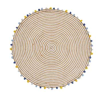 Multicoloured Cotton and Jute Rug with Tassels (H100 x W100 x D1cm)