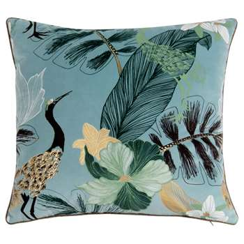 Multicoloured Printed Crane and Flower Cushion Cover (H40 x W40cm)
