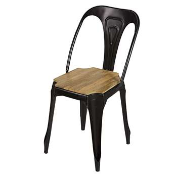 MULTIPL'S Industrial matte black metal and mango wood chair (84 x 41cm)