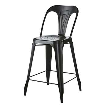 MULTIPLS Distressed Black Metal Kitchen Island Chair (H97 x W48.5 x D56cm)