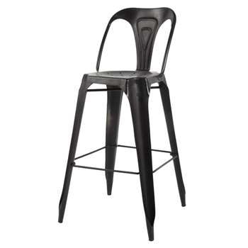 MULTIPLS Metal industrial bar chair in black (106 x 50cm)