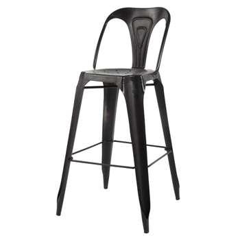 MULTIPLS Metal Industrial Bar Chair in Black (H106 x W50 x D52cm)
