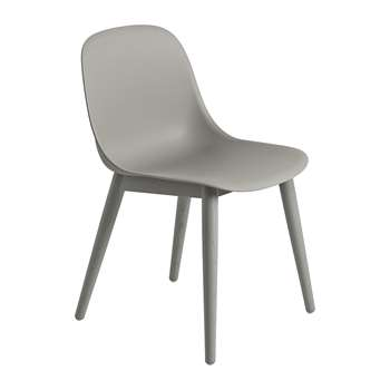 Muuto - Fiber Side Chair - Wood Base - Grey (H77 x W49.5 x D53cm)