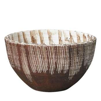Mwanamizi Decorative Bowl - Brown/White (21 x 38cm)