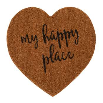 MY HAPPY PLACE - Natural Heart Doormat with Black Print (H40 x W40cm)