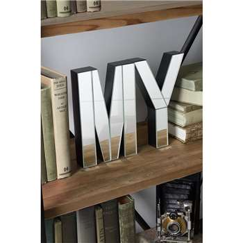 MY  Large mirrored freestanding or wall decorative letters (20 x 13cm)