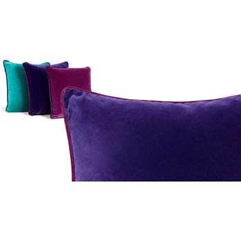 Mya Cotton Velvet Cushion, Purple with Plum Piping (50 x 50cm)