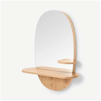 Mylene Oval Wall Mirror with Shelf, Oak (H71.3 x W57.7 x D18.5cm)