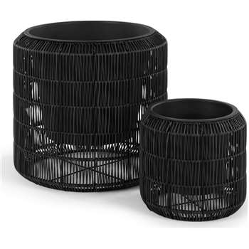 Nadda Set Of Two Round Polyrattan Plant Stands, Black (H43 x W45 x D45cm)