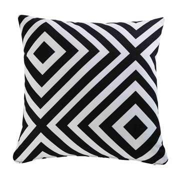 NAHIRA Garden Cushion with Black and White Geometric Motifs (H45 x W45cm)