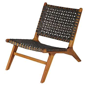 NAIROBI Garden armchair in solid acacia and charcoal grey resin wicker (72 x 60cm)