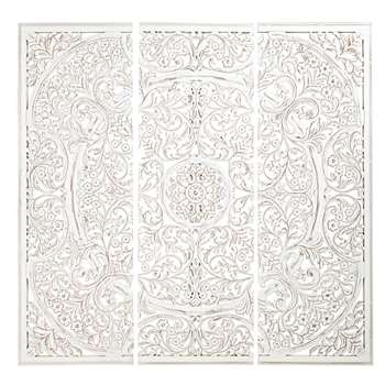 NAMAKKAL White Carved Wall-Mount Panel (H132 x W138 x D4.5cm)