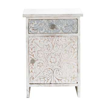 NAMASTE Carved solid mango wood Indian bedside table in white (60 x 42cm)