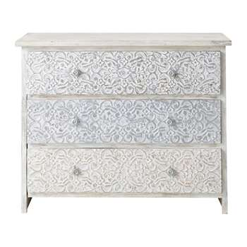 NAMASTE Solid mango wood carved Indian chest of drawers in white (80 x 100cm)
