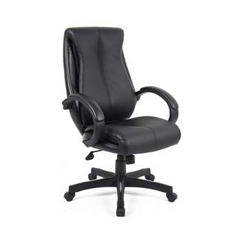 Nantes Leather Faced High Back Chair, Black