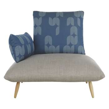 Naoko Patterned Armchair - Blue Pattern and Grey