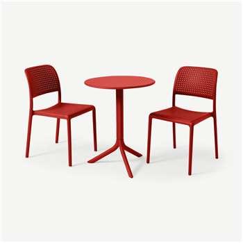 Nardi 2 Seat Bistro Set, Red Fibreglass & Resin (H76.5 x W60.5 x D60.5cm)