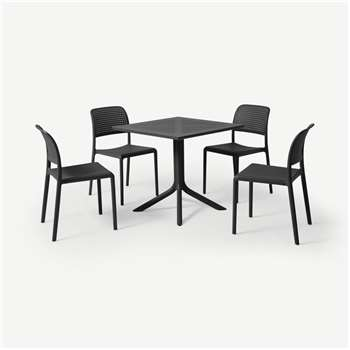 Nardi 4 Seat Dining Set, Dark Grey Fibreglass & Resin (H75 x W80 x D80cm)