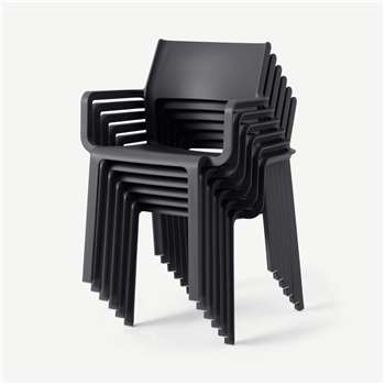Nardi Set of 6 Chairs, Dark Grey Fibreglass & Resin (H83 x W59 x D54cm)