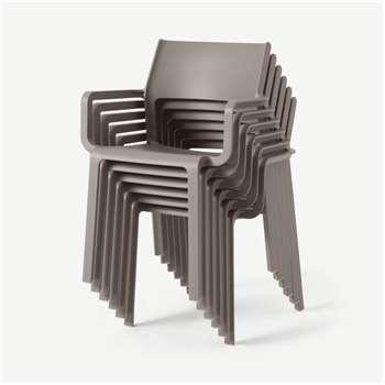 Nardi Set of 6 Chairs, Light Grey Fibreglass & Resin (H83 x W59 x D54cm)
