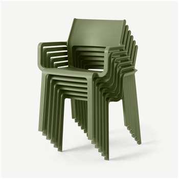 Nardi Set of 6 Chairs, Olive Fibreglass & Resin (H83 x W59 x D54cm)