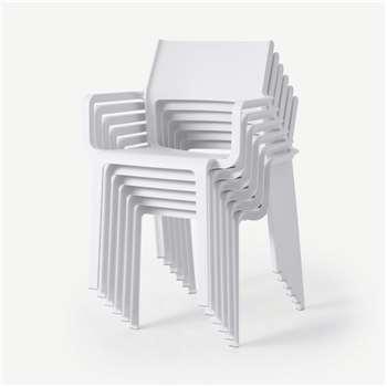 Nardi Set of 6 Chairs, White Fibreglass & Resin (H83 x W59 x D54cm)