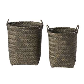 NARMADA 2 Woven Bamboo Baskets in Anthracite Grey (H44.5 x W40 x D40cm)
