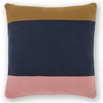 Narvik Stripe Knitted Cotton Cushion, Multi Blue/Pink (H45 x W45cm)