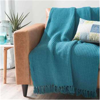 NASH cotton blanket in blue (160 x 210cm)