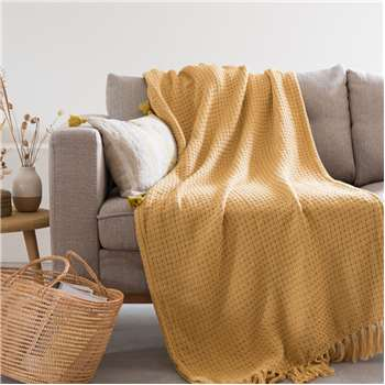 NASH - Fringed yellow woven cotton throw (H160 x W210cm)