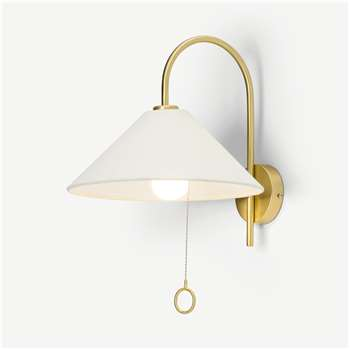 Natalie Wall Lamp, Brass & White (H35 x W31 x D34cm)