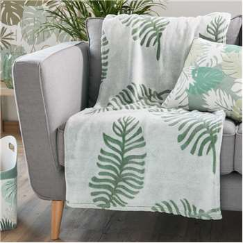 NATURA green leaf motif fabric throw (130 x 170cm)