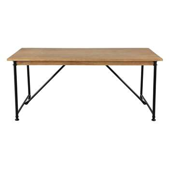 NATURALISTE Mango wood and metal dining table (75 x 180-270cm)