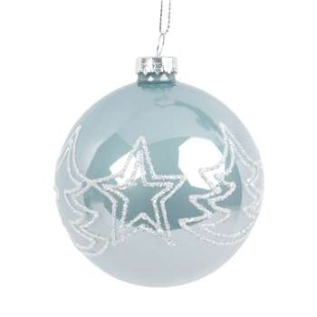 NATURE Light Blue Tinted Glass Christmas Bauble with White Christmas Trees, Set of 6 (H8 x W8 x D8cm)