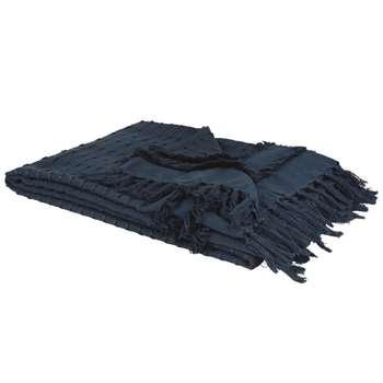 Navy Blue Cotton Blanket (H160 x W210cm)