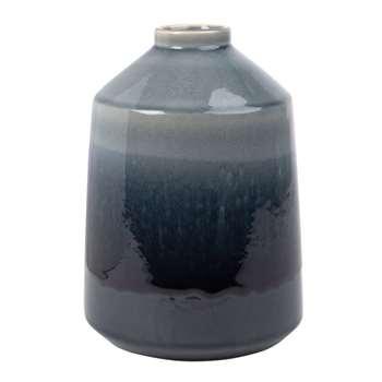 Navy Blue Stoneware Vase (H25.5 x W18 x D18cm)